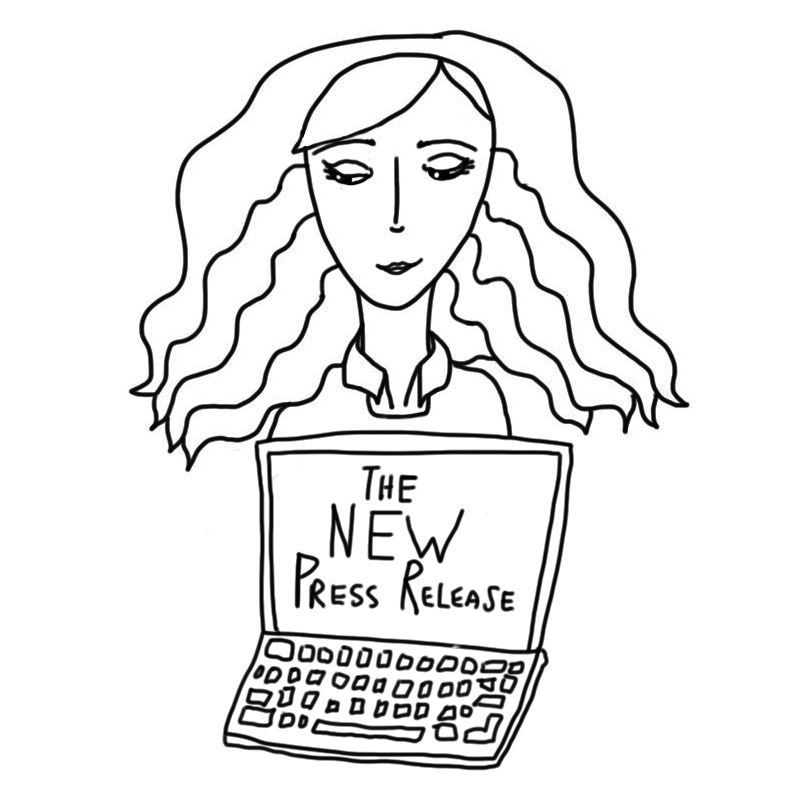 """drawn animated image of a girl holding a computer that says """" The new press release"""""""