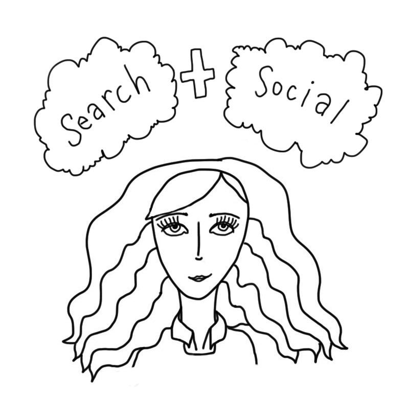 """drawn animated image of a girl that says """"search + Social"""""""