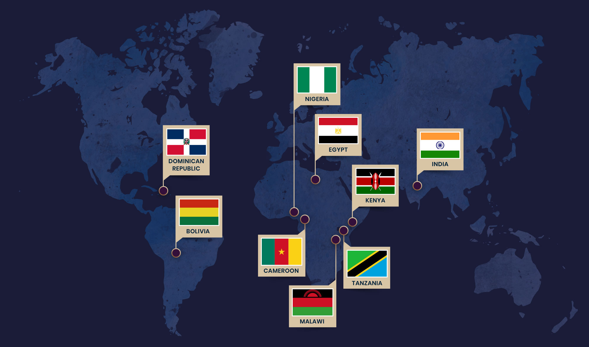 Map showing where Global Fund for Widows helps round the world