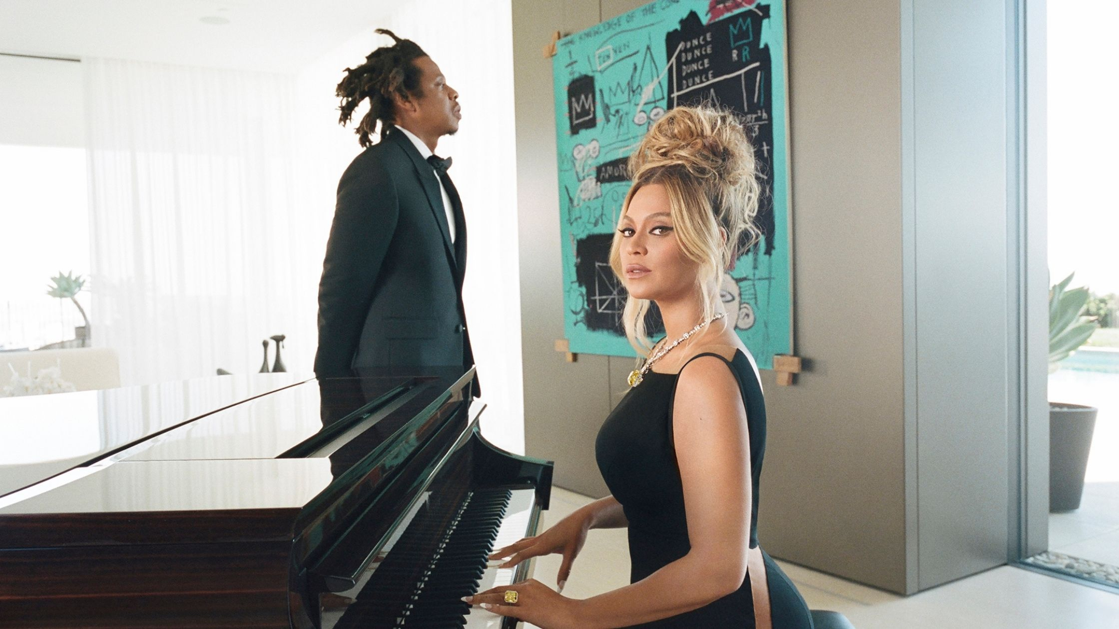 Basquiat painting Tiffany Ad Jay Z and Beyonce