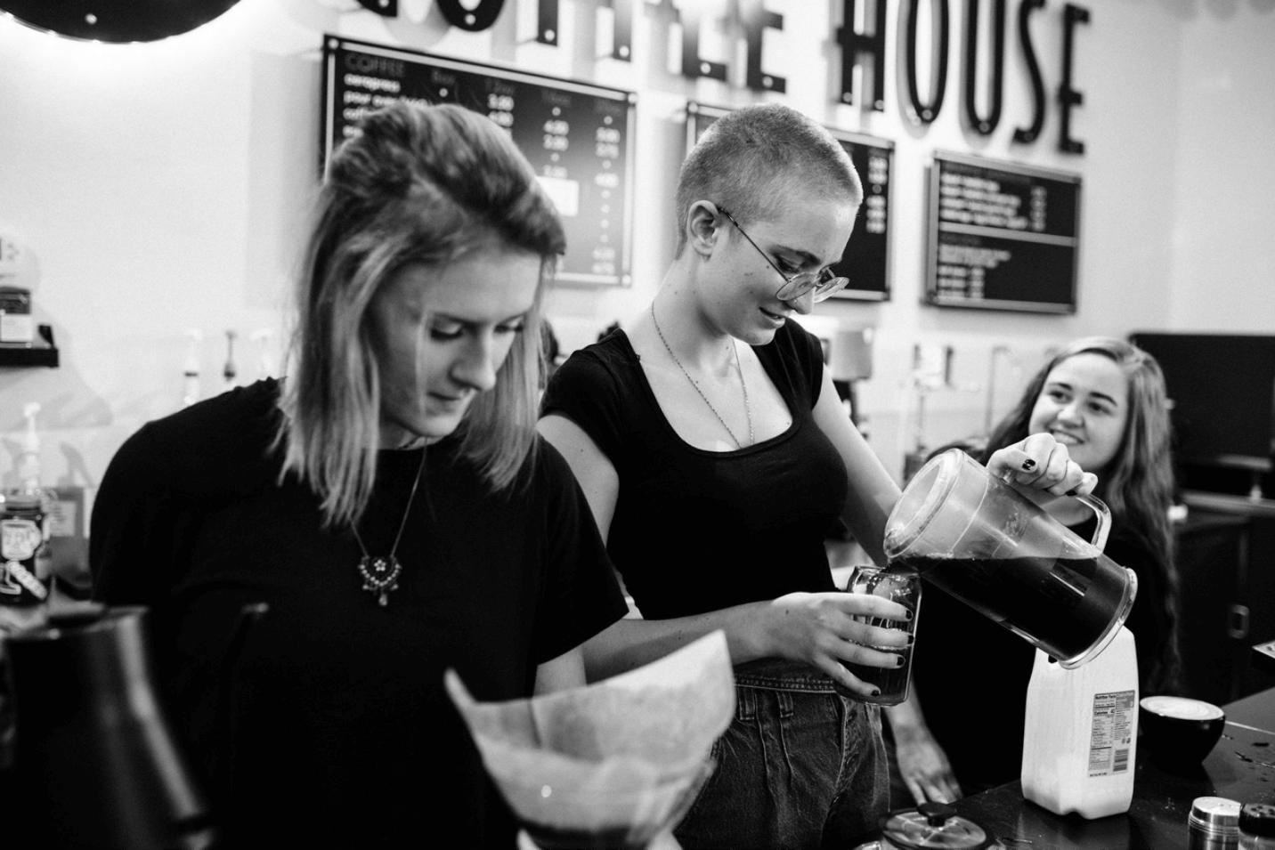 Close up of baristas