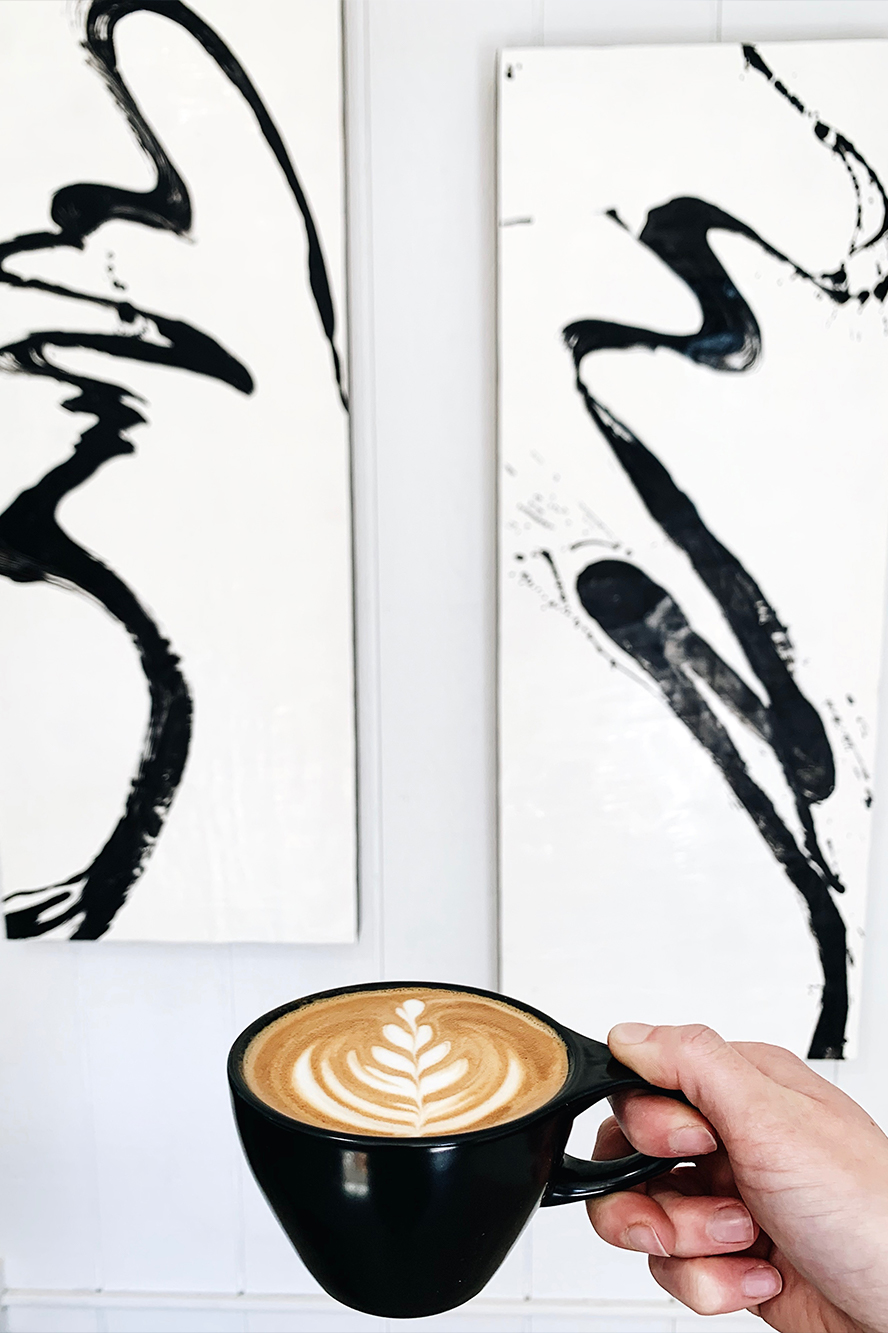 Latte art with abstract wall art
