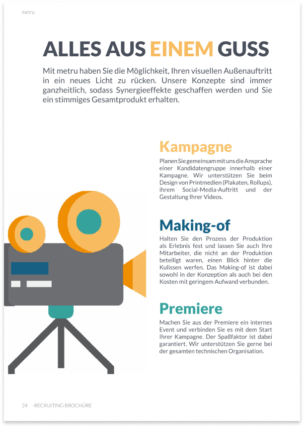 Page of media Production Brochure