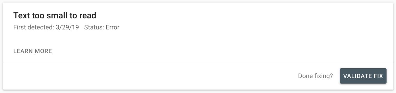 Google search console validate fix button