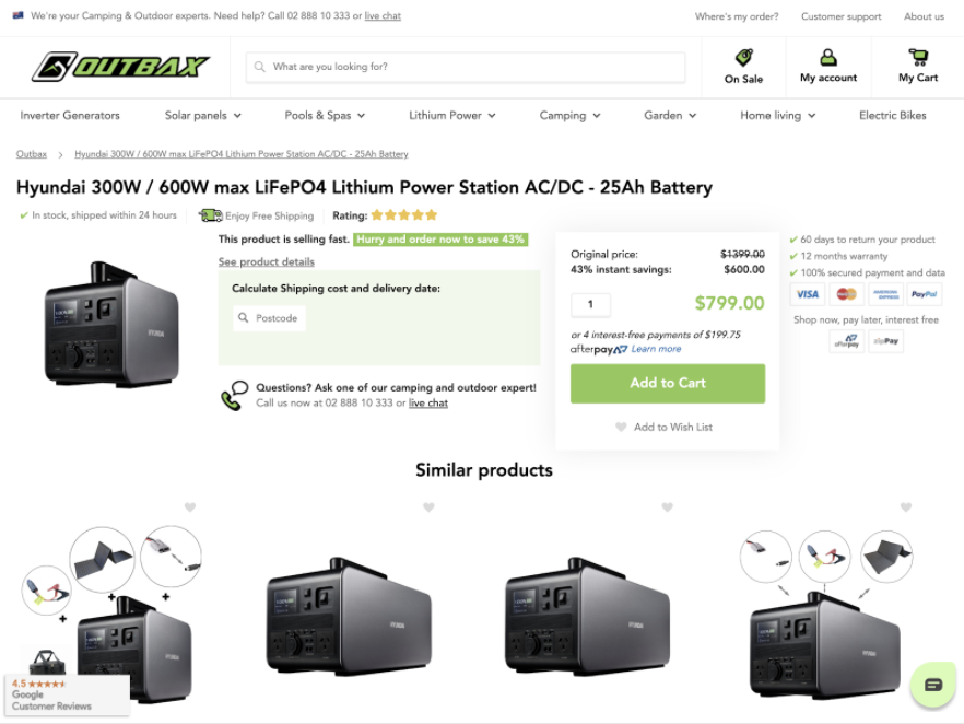 eCommerce example of product page pre-UX fix, including personalized product recommendations
