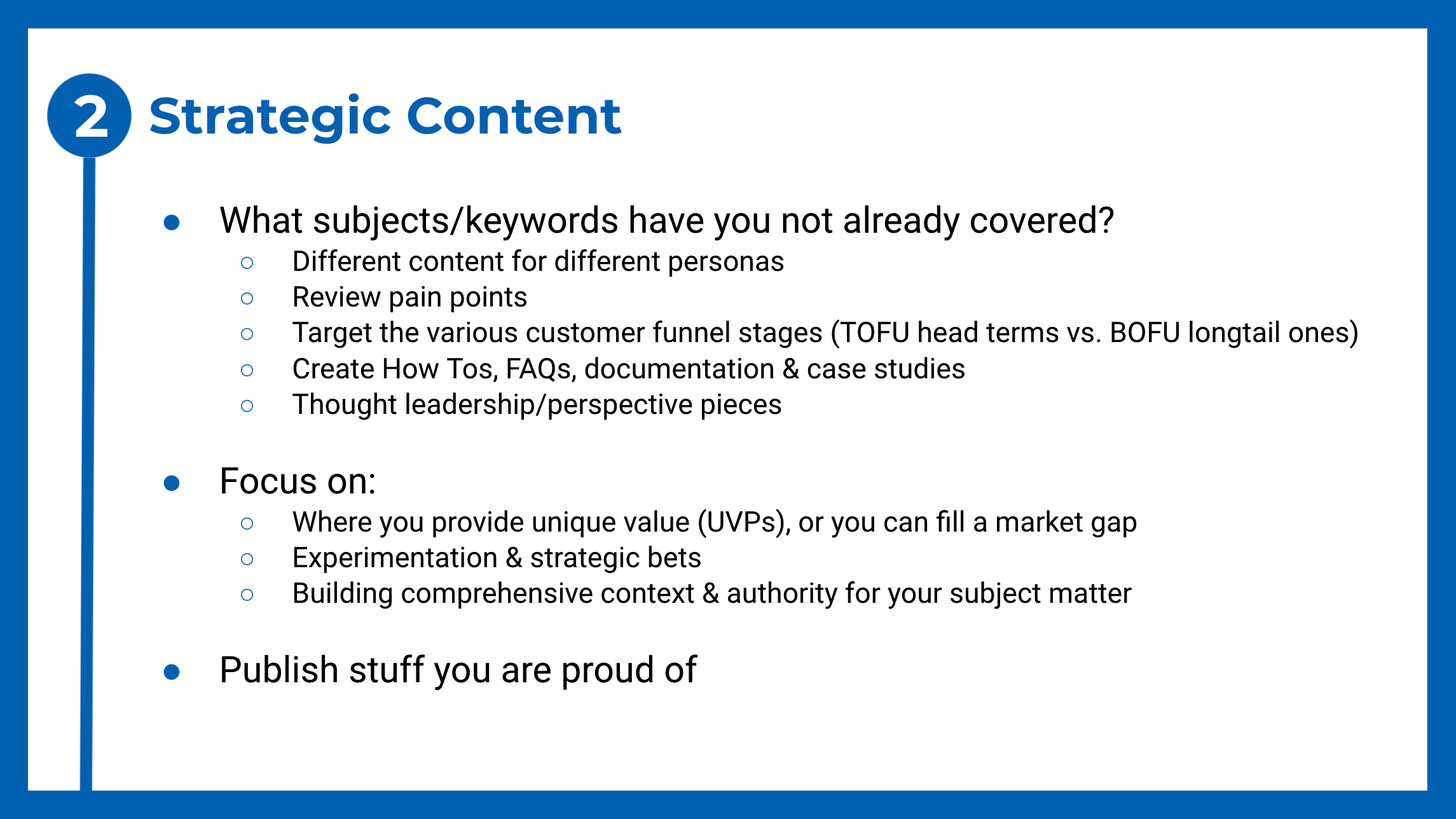 To do list for creating strategic content for SEO