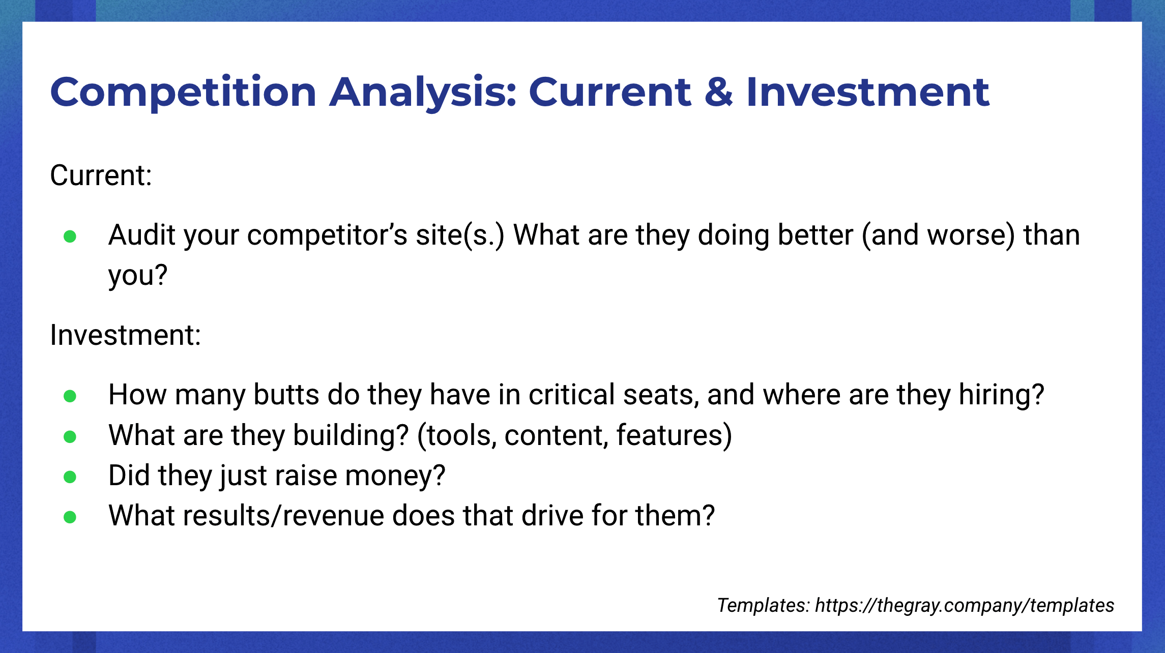 SEO competitive analysis: current & investment