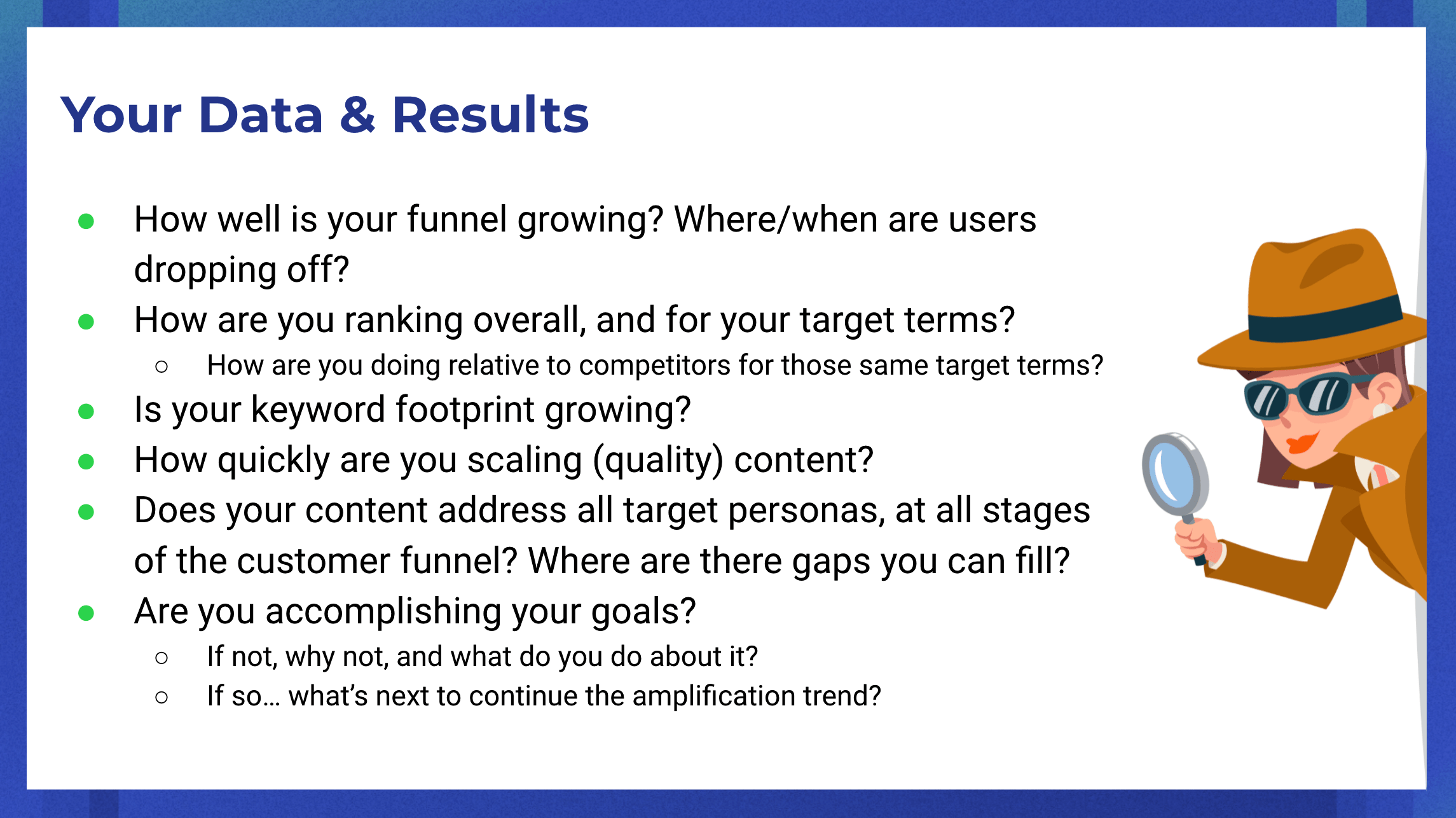 checklist for evaluating your SEO data and results