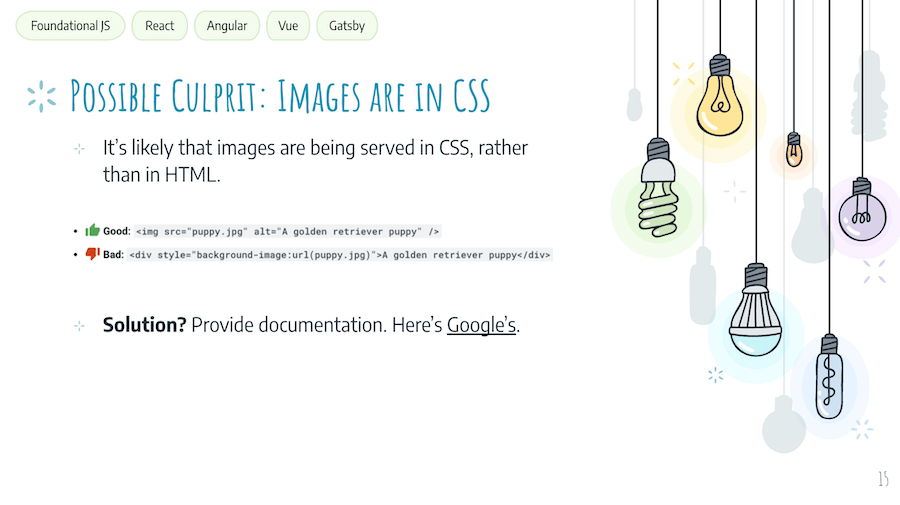 JS SEO Solution: Images are in CSS, so they can't be indexed