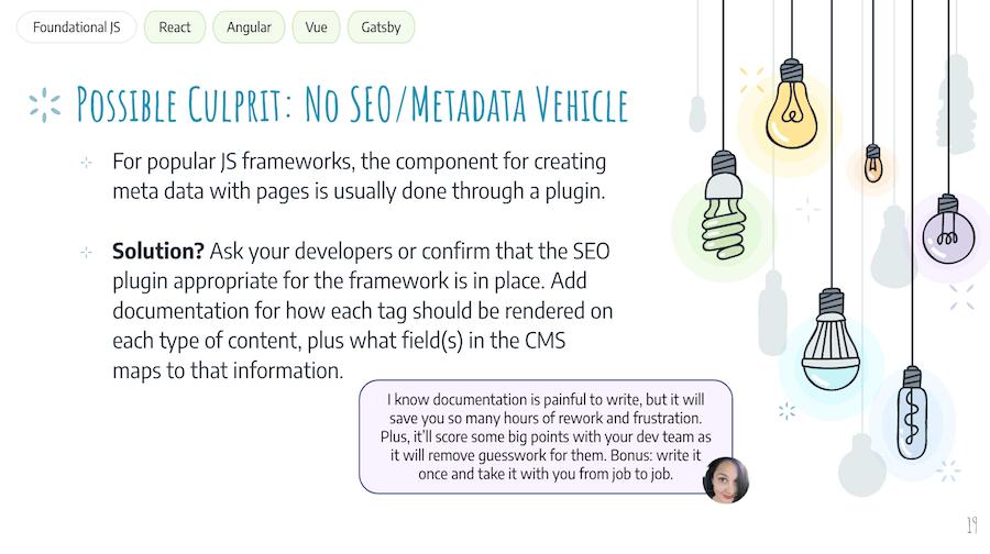 JS SEO Issue: No SEO/Metadata Vehicle