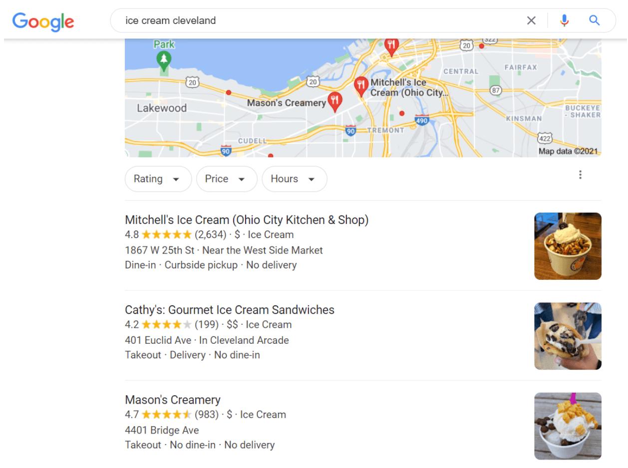 Local SEO keyword example: ice cream cleveland