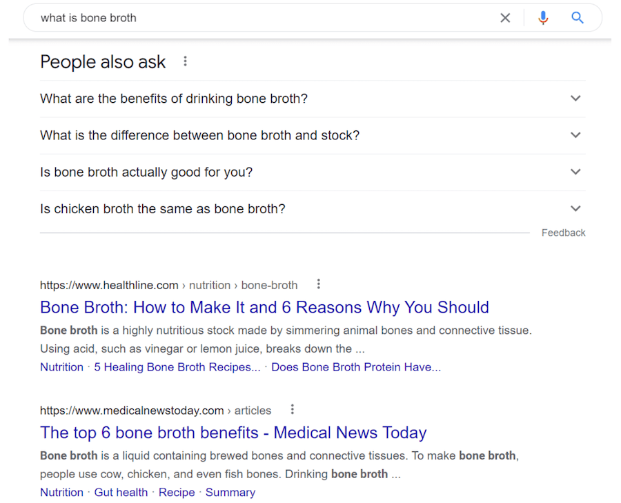 Search intent varies more than you might think - example for query what is bone broth