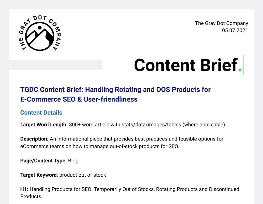 Example content brief
