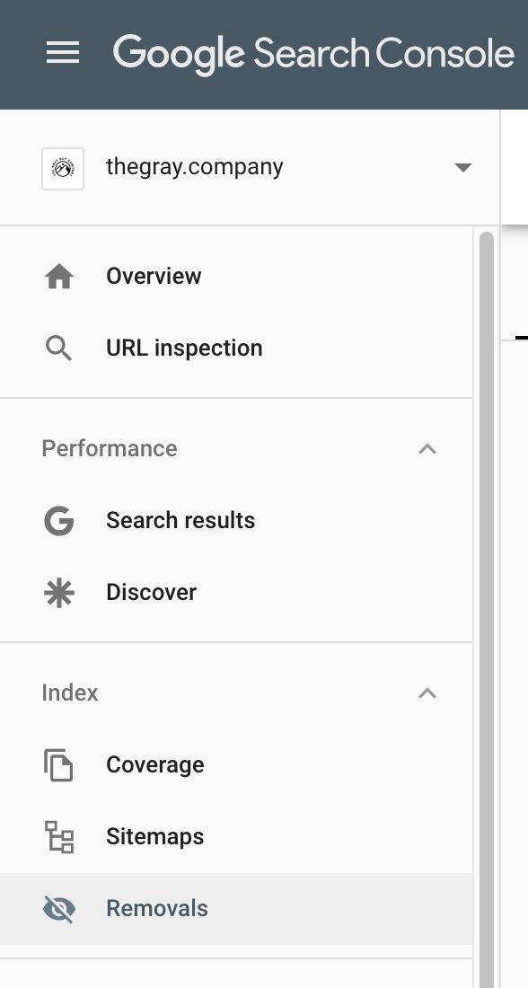 GSC Left Navigation - Find The URL Removals Section