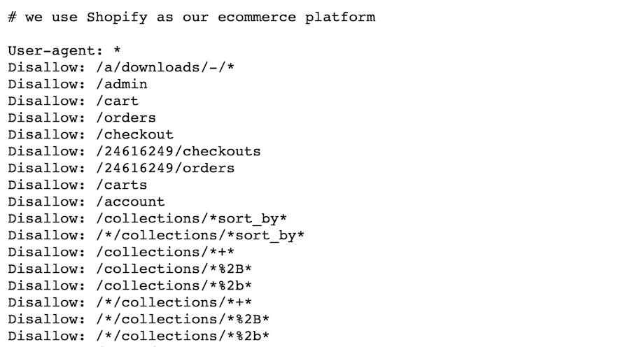 Shopify's handling of ecomm faceted navigation via robots.txt files