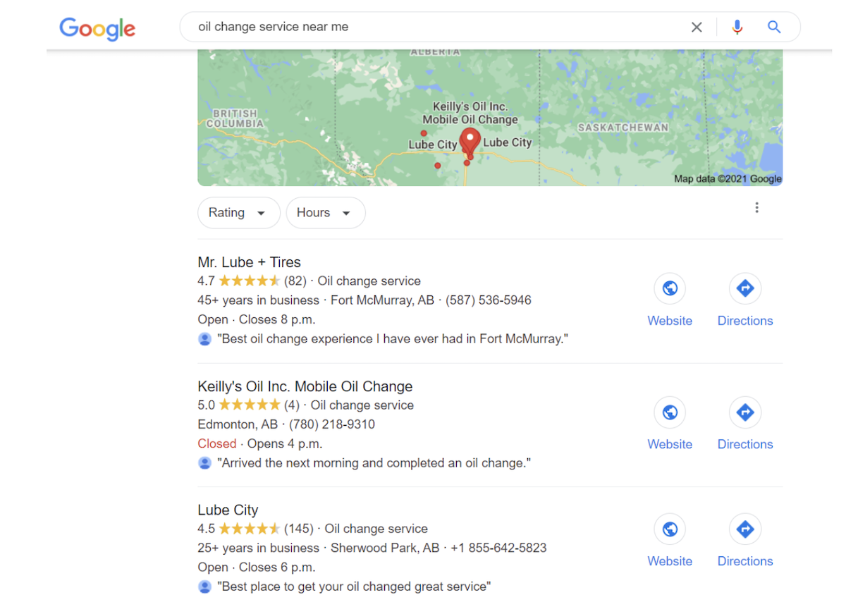 """Google local results for """"oil change service near me"""" in Canada"""