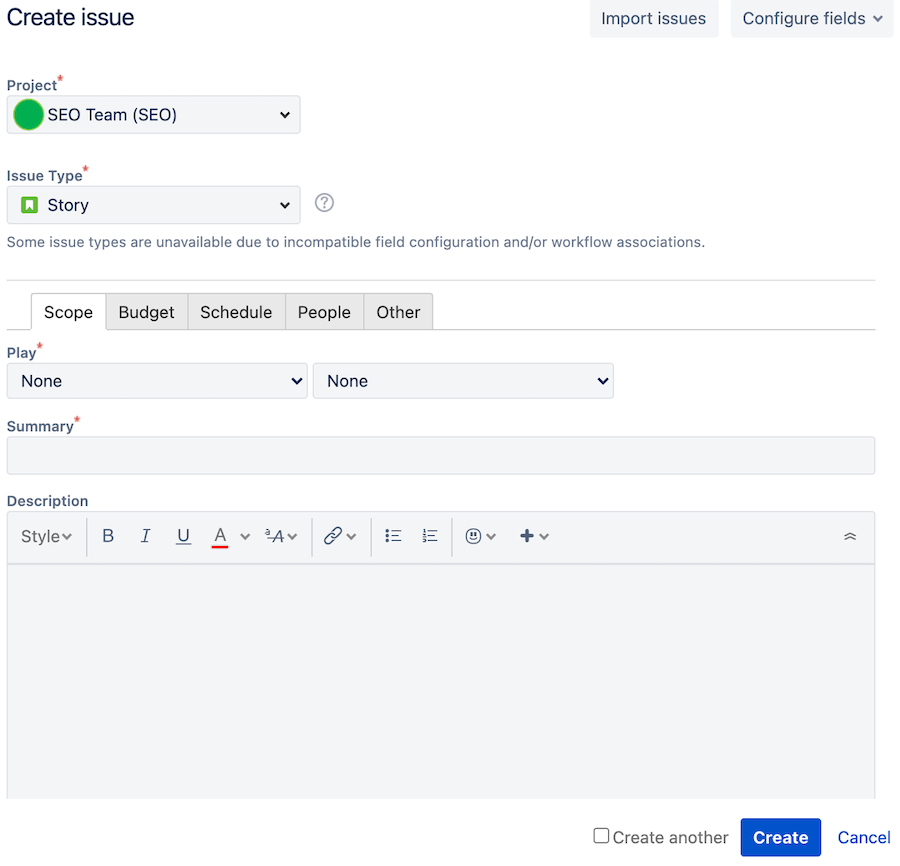 SEO issue ticket in creation, using Jira