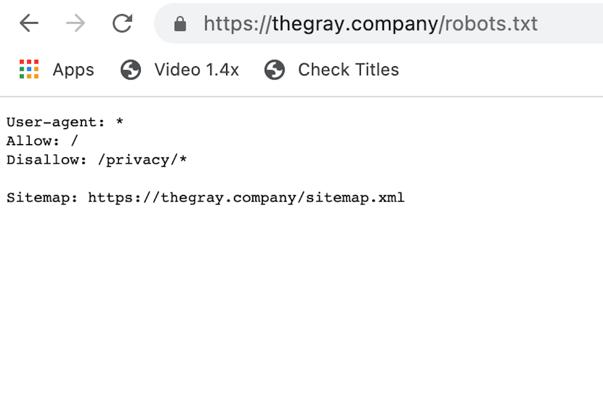 Example Robots.txt file and syntax
