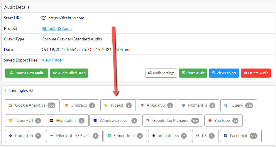 Screenshot of the Audit Details > Technology tab of a Sitebulb Audit