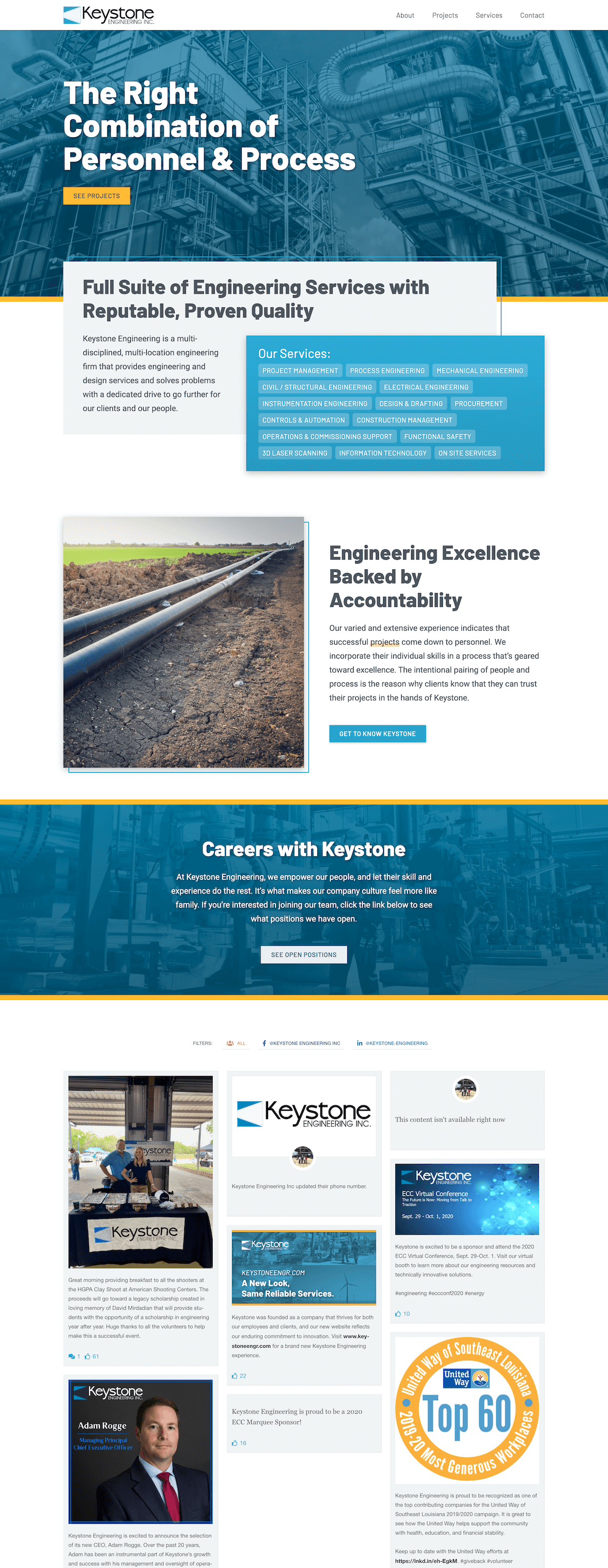 Keystone Engineering website Homepage designed and developed by Chase Whitney
