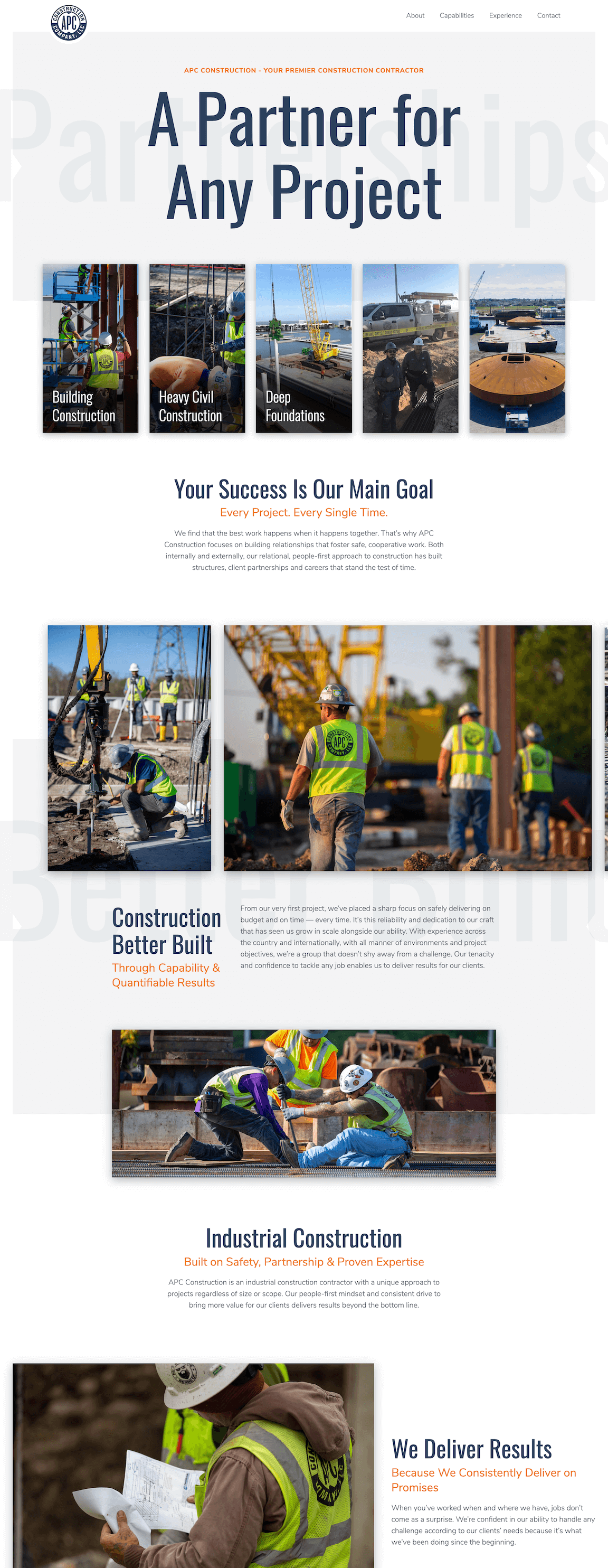 APC Construction website Homepage designed and developed by Chase Whitney