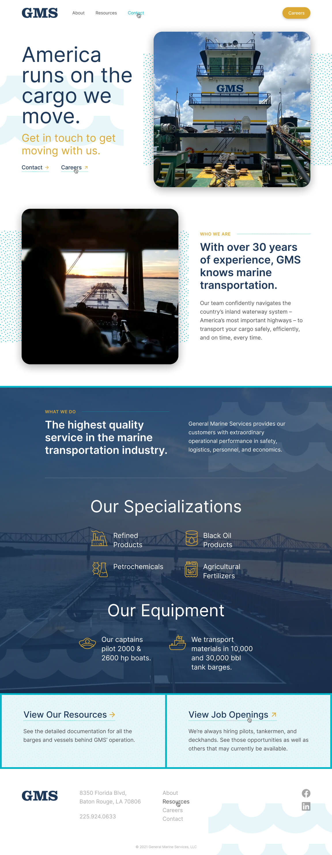 GMS website Homepage designed and developed by Chase Whitney