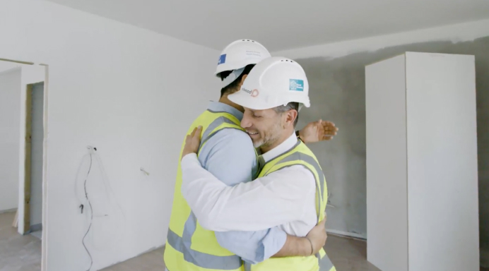 Co-founders Antony and Sam hugging