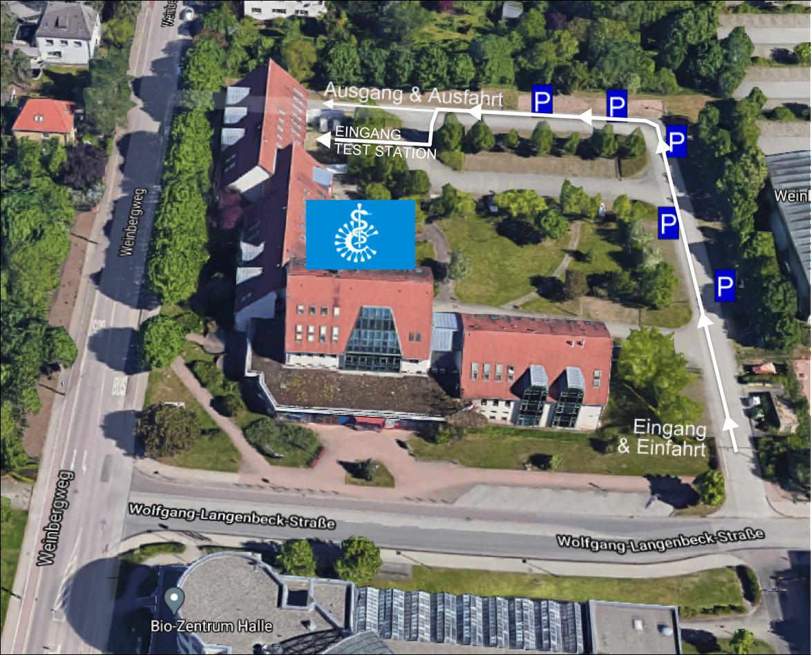 Bild Lageplan/ anfahrt zur Corona-Schnelltest-Station Halle (Saale)  Wolfgang-Langebeckstraße, Weinbergweg 23