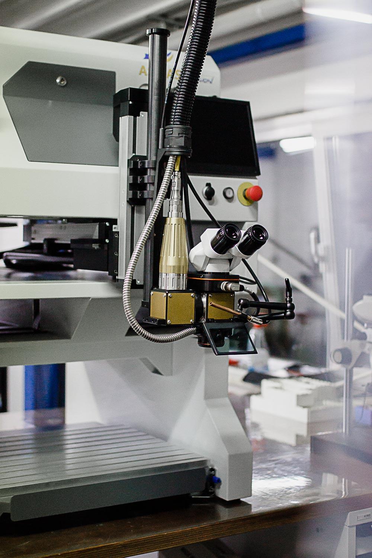 Detailansicht einer mobilen Laserschweißanlage