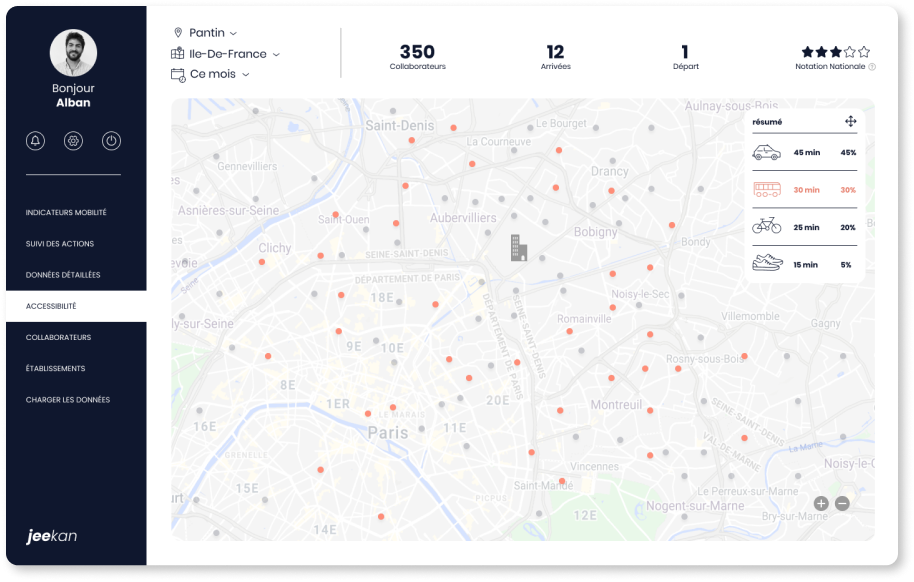 picture of the jeekan dashboard accessibility view