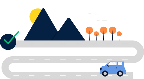 Picture with a car following a road with mountains and trees as landscape
