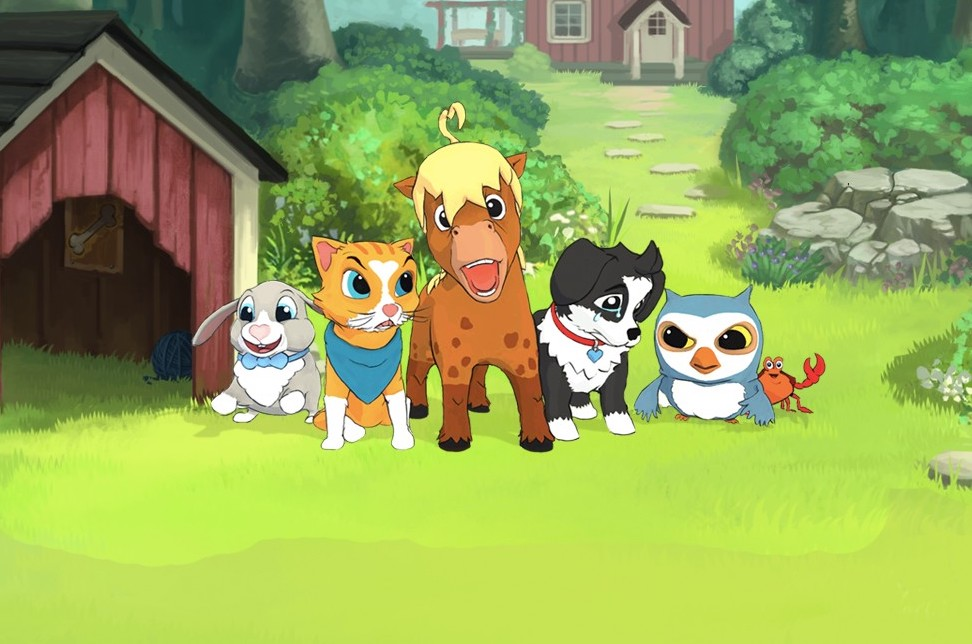 Five animal characters from Peppy Pals on a farm