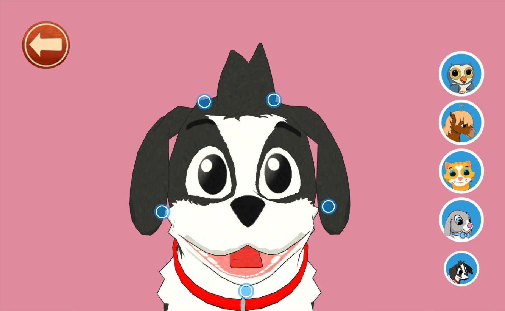 Screenshot from Peppy Pals app showing a dog