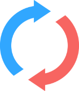 Red and Blue Circle Arrows showing 360 Degree Business Process