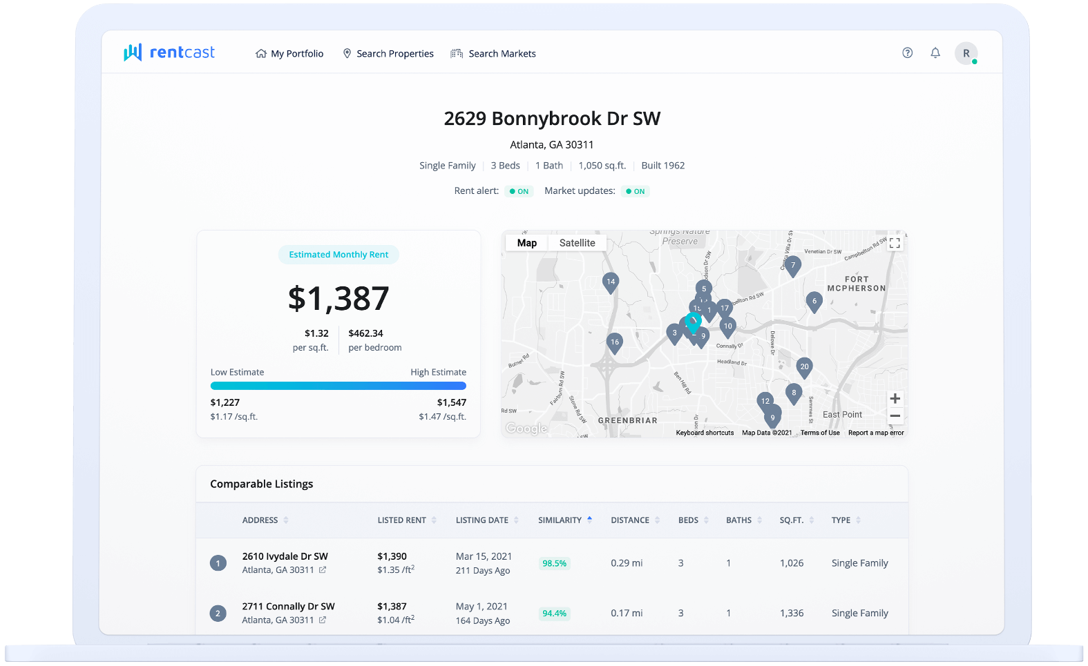 Get rental comps and compare rents anywhere in the United States