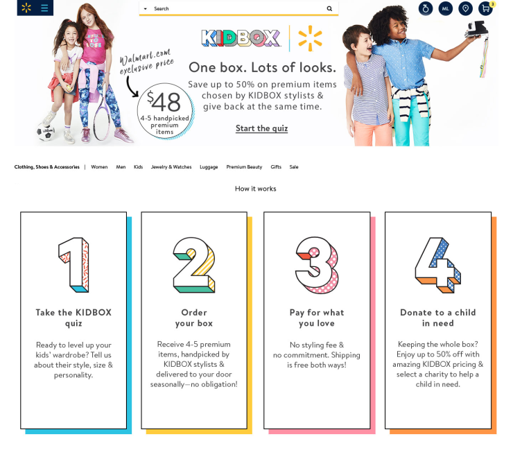 Walmart is launching its first subscription box for apparel. And this one's for kids
