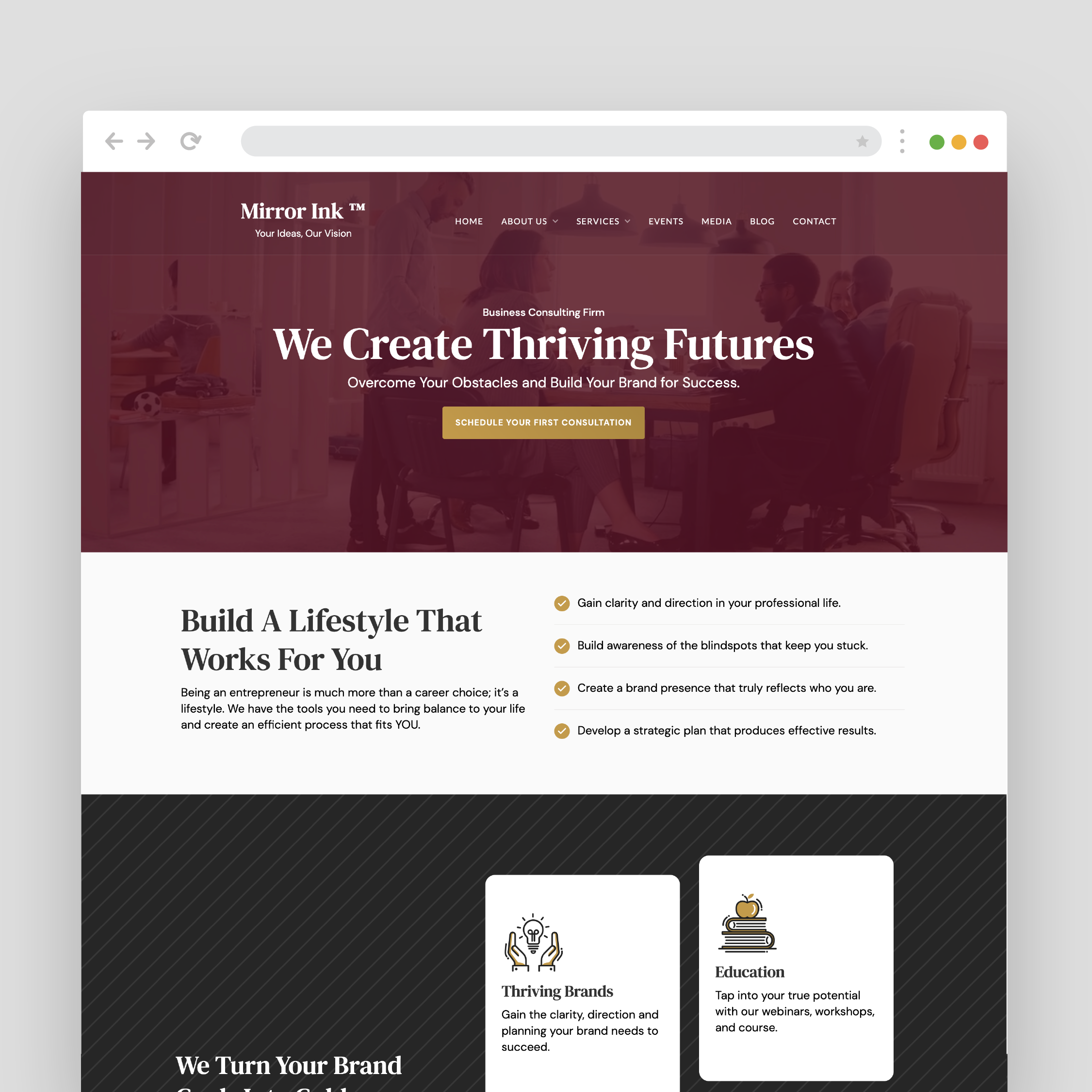 Website created for Mirror Ink by VZNCY