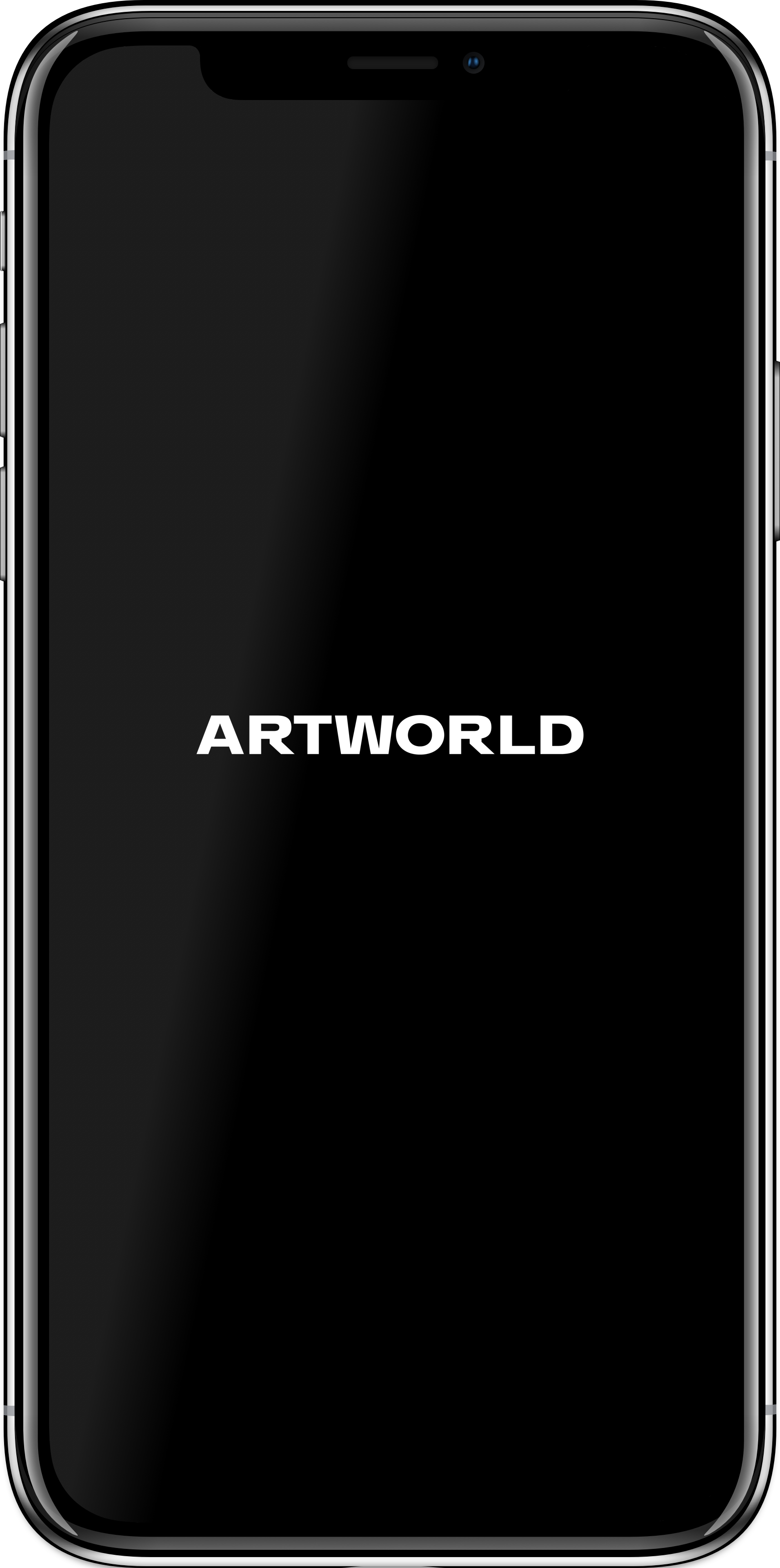 Artworld App splash page on an iPhone