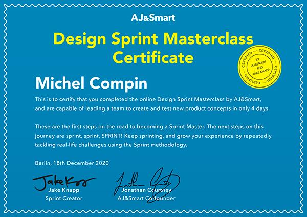 Design Sprint Mastercclass Certificate - Jake Knapp, Jonathan Courtney Aj&Smart