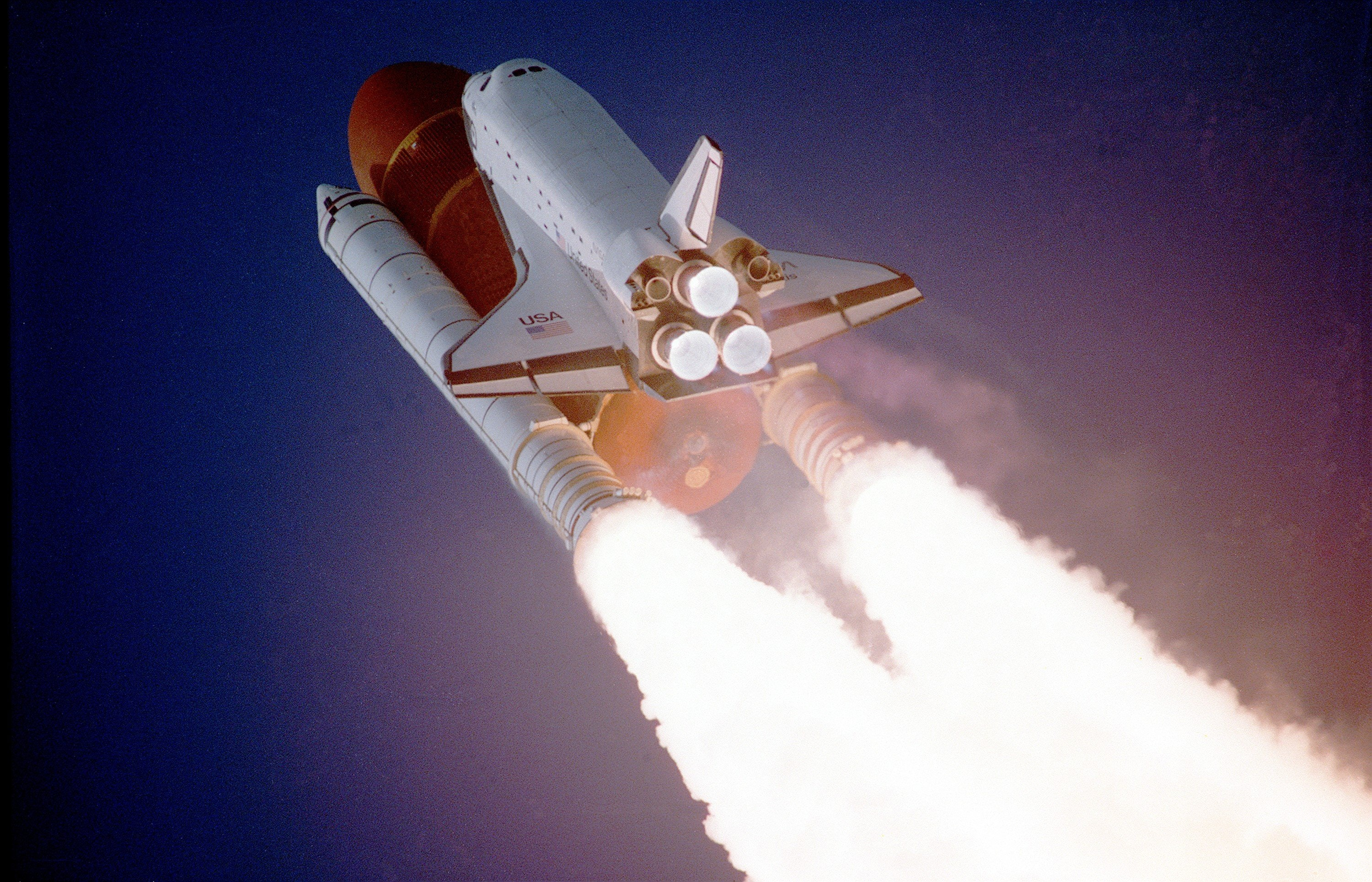 Blasting off on space shuttle