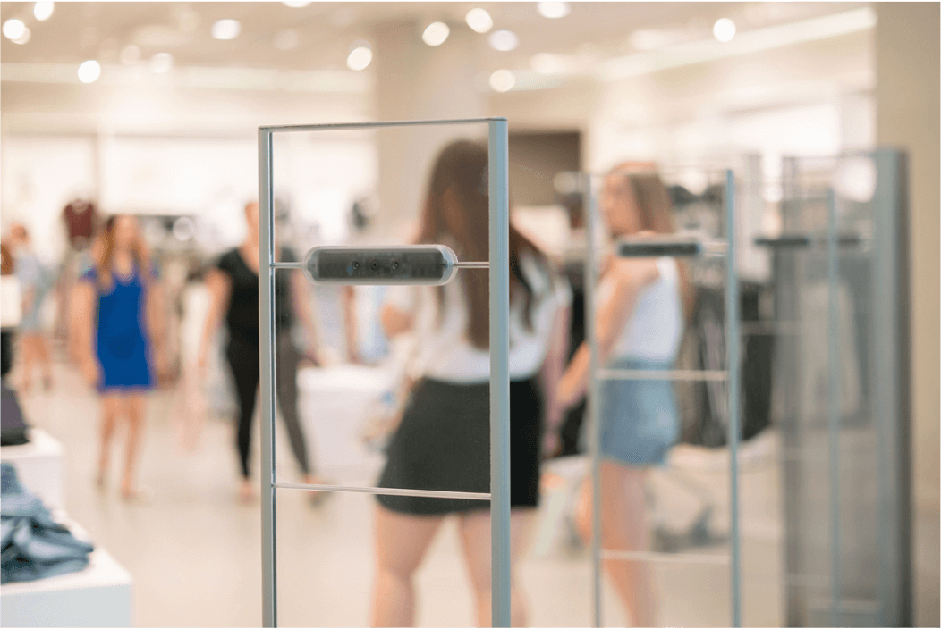 Metal detectors in retail shop