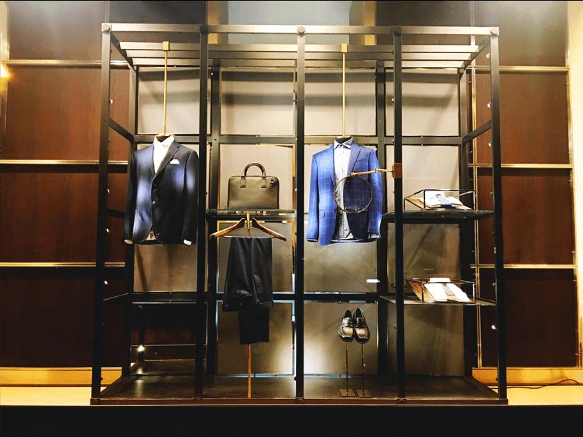 Merchandising display at luxury brand