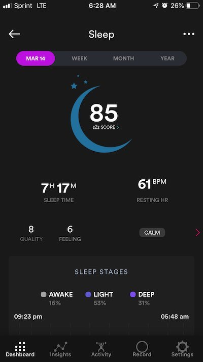 Biostrap App Sleep Dashboard
