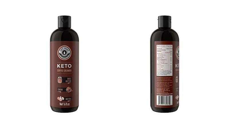 bottle of left coast performance ket coffee creamer