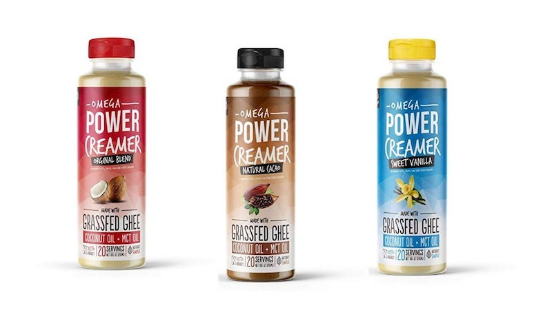 bottles of the different omega powercreamer flavors