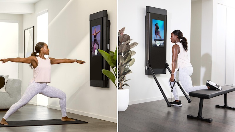 A woman using the Tonal home gym for a yoga session and a weight lifting workout.