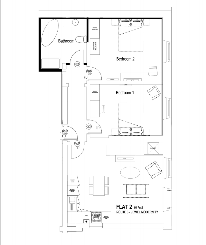 Flat 2 2bed flat floorplan