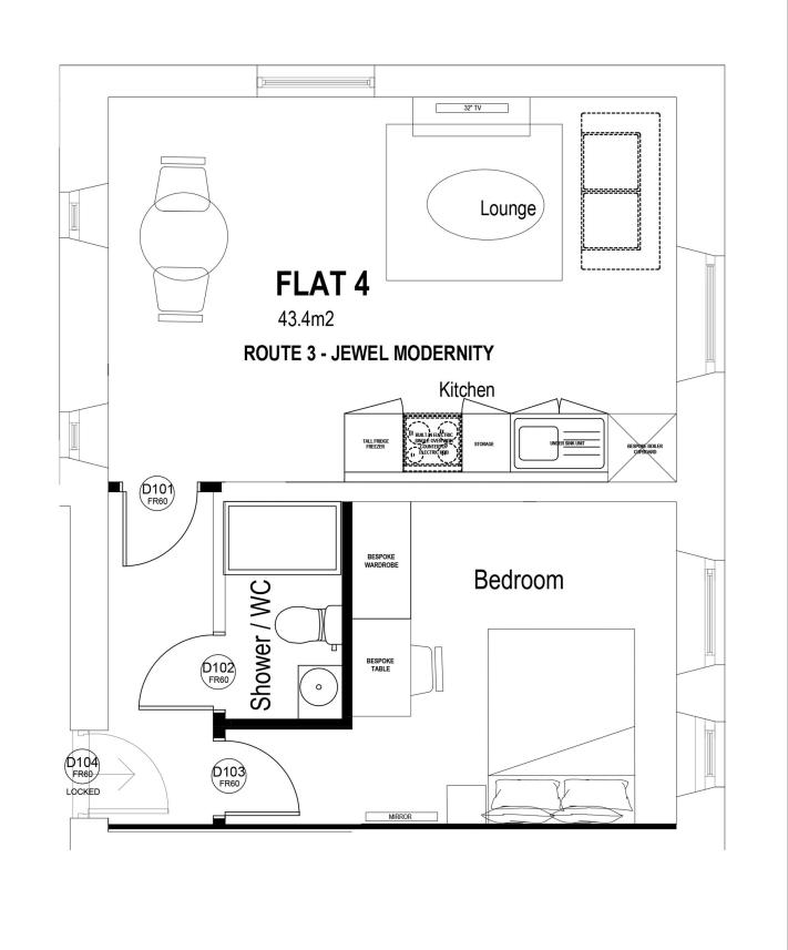 Flat 4 1 bed flat floorplan