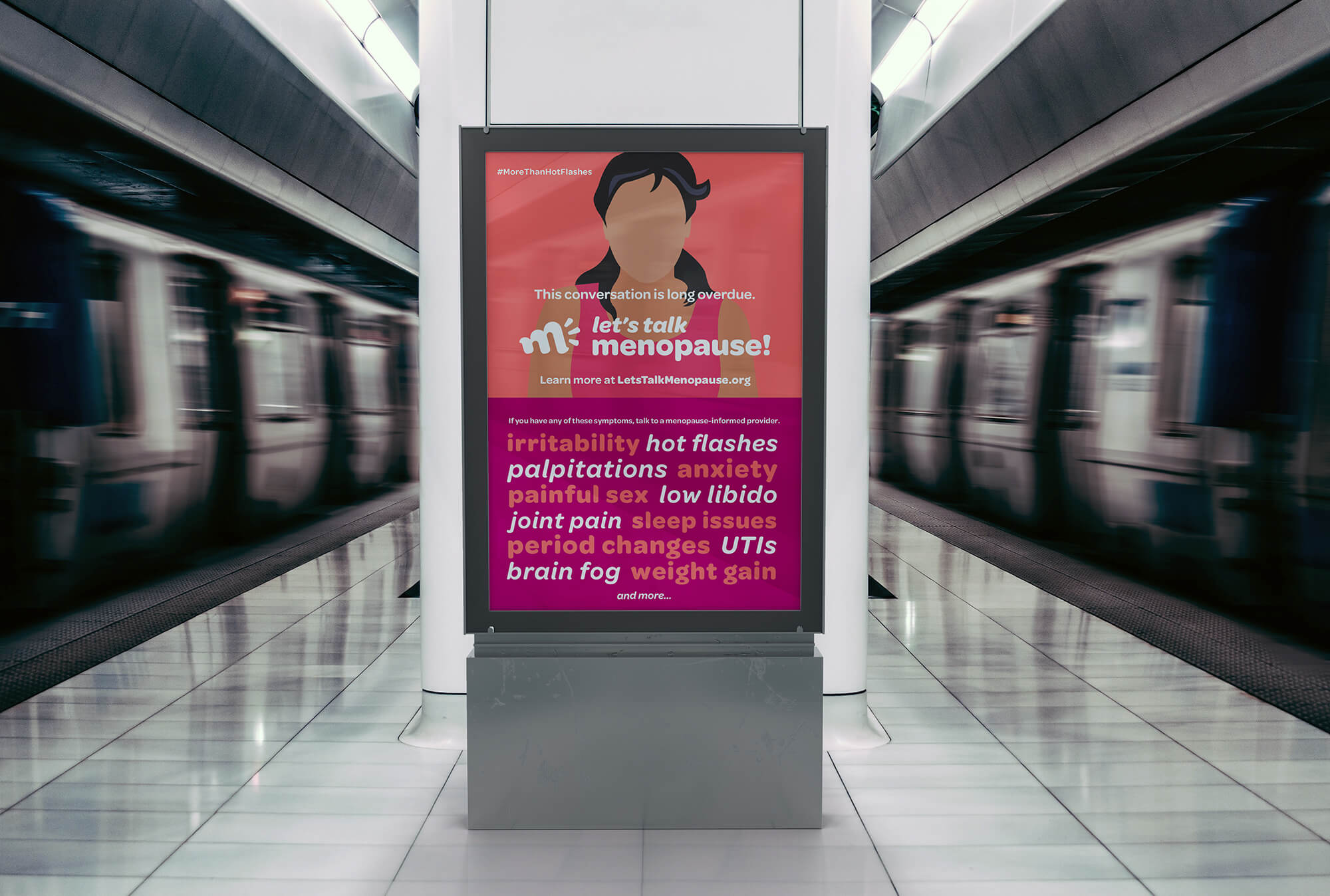photo of poster campaign on subway platform