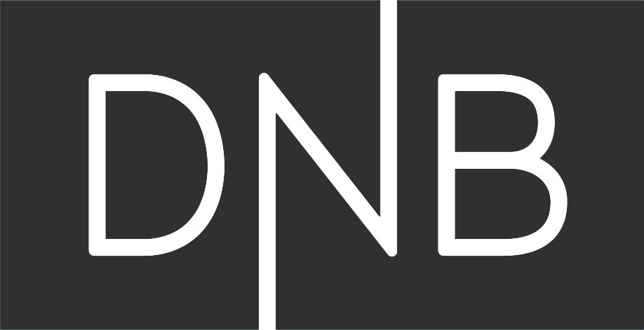 The logo of DNB in a dark color